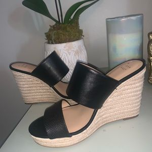 Black faux leather wide strap wedges